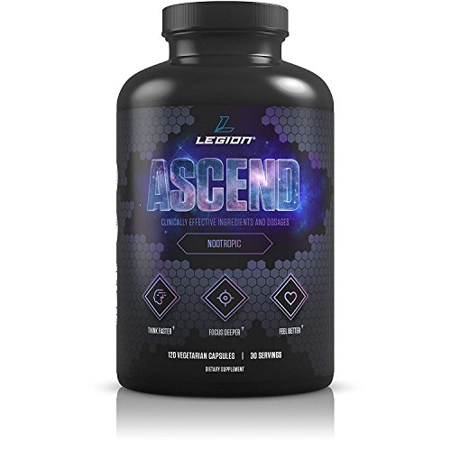 Legion Athletics Ascend Nootropic - All Natural Brain Supplement for Boosting Energy, Focus, Memory - BanishFoggy Brain with Vitamins for Your Mind, Including CDP-Choline & Alpha-GPC - 30 svgs