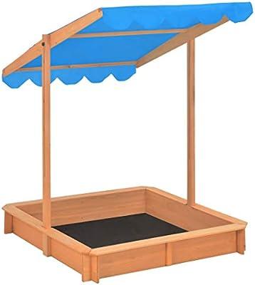 mewmewcat Arenero Infantil Caja de Arena Cuadrada de Madera de Niños con Techo Ajustable 119 x 119 x 140 cm: Amazon.es: Deportes y aire libre