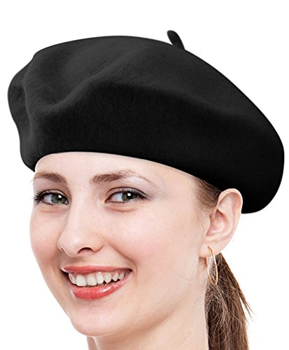 Solid Color French Wool Beret (Black)