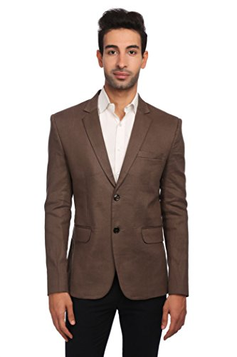 WINTAGE Men's Linen Tailored Fit Solid Evening/Casual Blazer Coat Jacket : Brown, XX-Large