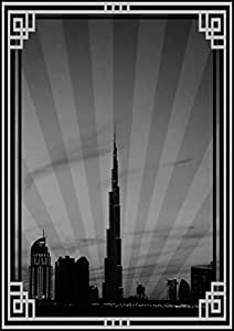 Photo Of Dubai Skyline Down Town - Black And White With Silver Border No Text, Mounted (a2)
