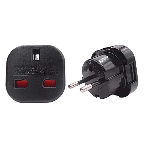 shaoyanger AC Power Adapter Wall Socket Converter UK to EU Plug 240V Travel Hotel Office for Phone (Black)