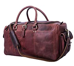 "Dimensions: 20""(Length) x 11"" (Height) x 11"" (Depth). Made of 100% Genuine Buffalo Leather, our Travel Duffle Bag is pretty spacious and has lots of compartments. From the outside view, it has zippered pockets on each side of the bag and from..."