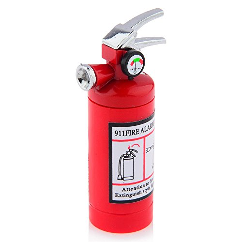 New Mini Fire Extinguisher Style Butane Lighter with LED Flashlight Refillable