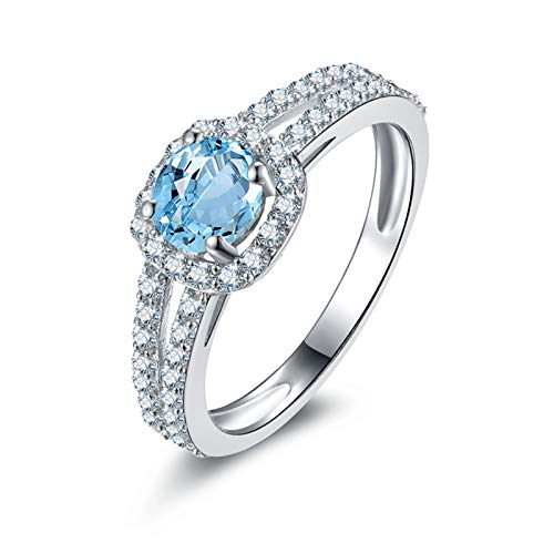 ANAZOZ Round Shape 5.5MM Blue Topaz Wedding Ring S925 Sterling Silver Cz Engagement Rings for Women Size 9