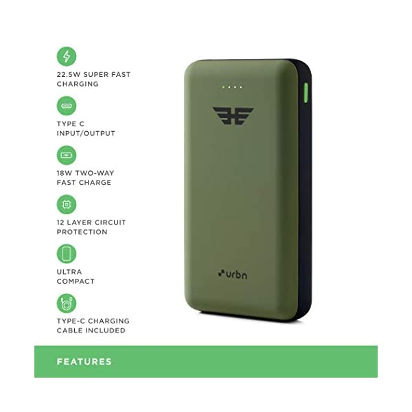 URBN 20000 mAh 22.5W Super Fast Charging Power Bank with 22.5W Type C PD (Input& Output) and QC 3.0 Dual USB Output with… 2021 June Proudly Made In India It will charge a 3000mAh phone battery up to 4.7 times & It will charge a 4000mAh phone battery up to 3.5 times Input - Micro & Type-C Port. Charges in 5 hours (Powered by 22.5W Adapter) and 10-12 hours (Powered by 2 Amp 5V Adapter