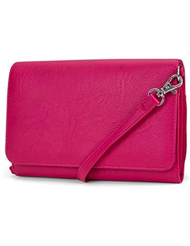 Mundi RFID Crossbody Bag For Women Anti Theft Travel Purse Handbag Wallet Vegan Leather (Pink)
