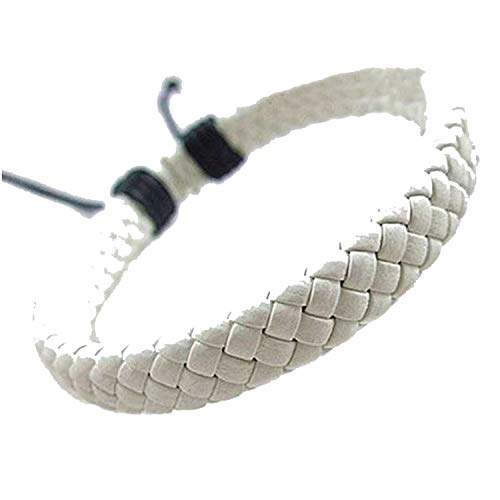 tthappy76 Hot Fashion Trendy Charm Bracelets Leather Jewelry Woven Rope Chain Comfortable Vintage Men Women Bohemia Gift,White