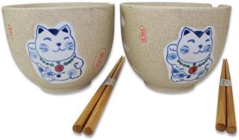 2 Porcelain Ceramic Bowls w Chopsticks Soup Noodle Cereal  Menudo Ramen Udon