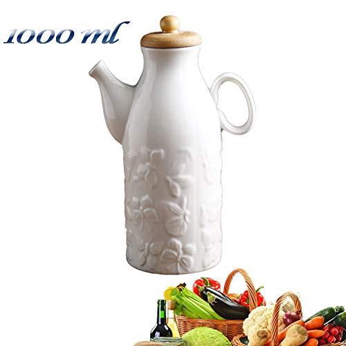 MAI&BAO Oil Vinegar Bottle Pot Dispenser Kitchen Ceramics Olive Sauce Dispenser Dust Proof and Leak-Proof Wooden Bottle Cap Prevents Oxidation Butterfly Relief Design Easy to Clean,White1000mlB