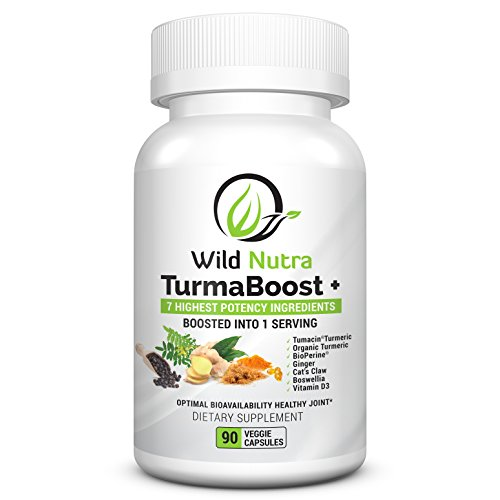 Turmacin Tumeric Curcumin Supplement with 6 Extra boosters Cats Claw, Ginger, Boswellia, Organic Turmeric, Black Pepper Vitamin D. Guaranteed to Help Ease Joint Pain, Hip, Knee and Back Pain.