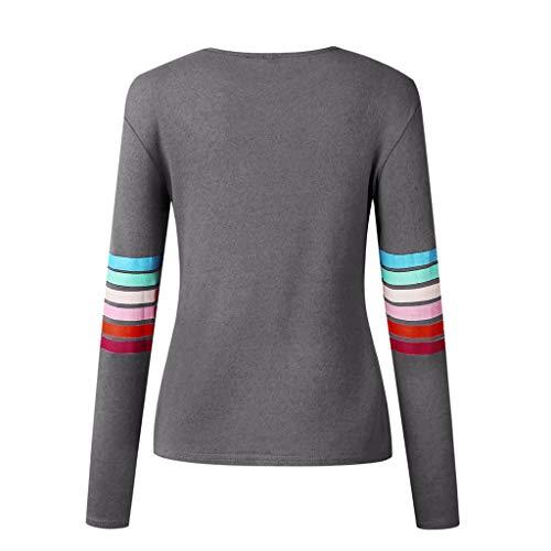 Maniche Stampa Manica A Multicolor Con Da Lunghe Lunga Donna Grigio Camicia Toamen Multicolore Righe w1Ix88
