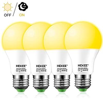 Dusk to Dawn Sensor Light Bulbs LED A19 9W 810 Lumens, Outdoor Porch Lights, 60 Watt Equivalent, Warm White 2700K Soft White Security Bulb(Auto on/Off), E26 Screw Base(4 Pack)
