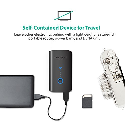 RAVPower FileHub Plus, Wireless Travel Router, SD Card Reader USB Portable Hard Drive Companion, DLNA NAS Sharing Media Streamer 6000mAh External Battery Pack (Not a Hotspot) by RAVPower (Image #5)