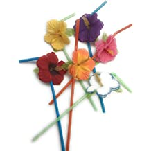 Hibiscus Flower Bendable Straws ( Pack of 72 )