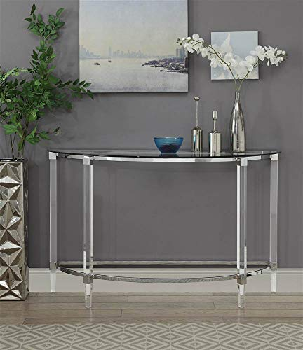 Acme Glass Sofa Table - Acme Furniture Industry, INC Sofa Table in Clear Acrylic, Chrome and Clear Glass