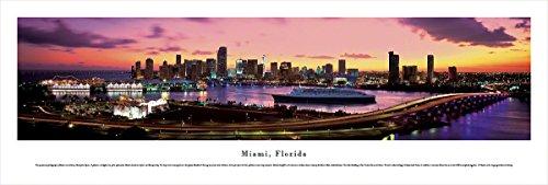 Miami, Florida at Sunset - Blakeway Panoramas Unframed Skyline - In Mn Times Sunset
