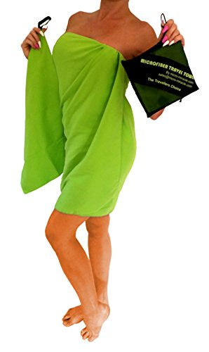 Micro-Miracle XL (30-Inch-by-60-Inch) Soft Microfiber Travel Towel with Hand Towel and Nylon Mesh Carry Bag, Green