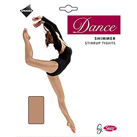 Silky Girl's 1 Pair Dance Shimmer Stirrup Tights 7-9 Years Toast - Opaque Stirrup Tights
