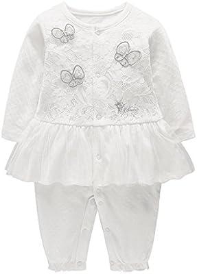 Bebé Niña Mameluco Mono con Falda Manga Larga Pelele Algodón Body Recién Nacido Oniesie Trajes de Pijama, 9-12 Meses: Amazon.es: Bebé