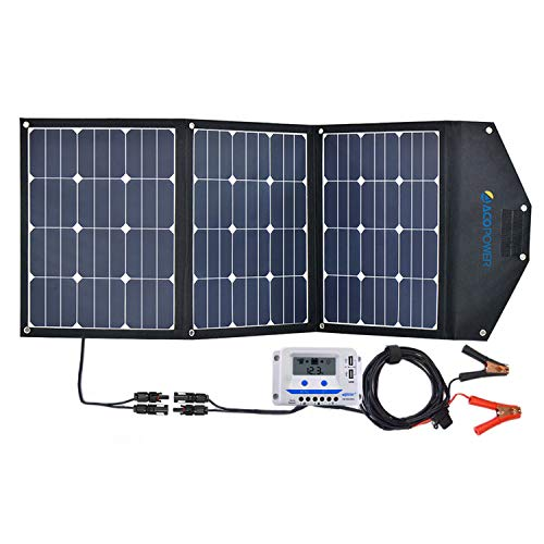 ACOPOWER 120W Portable Solar Panel, 12V Foldable Solar Charger with 10A LCD Charge Controller in Suitcase