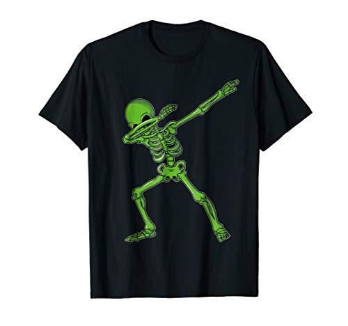 Dabbing Skeleton T-Shirt Dab Hip Hop Skull Shirts Kids Green -