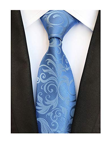 Tonal Blue Tie Silk (Secdtie Mens Sky Blue Silk Cravat Woven Flower Neck Tie Textile Business Necktie)