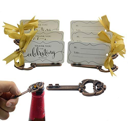 (Aokbean 50pcs Multi Function Vintage Skeleton Key Bottle Opener Place Card Holders for Weddings Table Name Cards for Guest Souvenir French Ribbon (Antique Copper) (Antique Copper))
