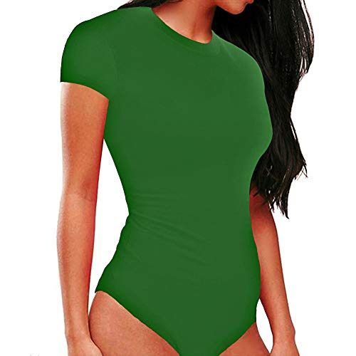 ZEZTY Women's Short-Sleeve Round Neck Leotard Basic Bodysuits Elastic T-Shirts Bodycon Jumpsuit (Green, Medium)