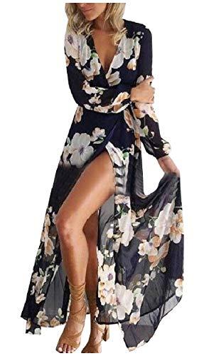 Howme-femmes Profonde Impression V-cou Longue Tunique Longue Robe Maxi Manches Noir