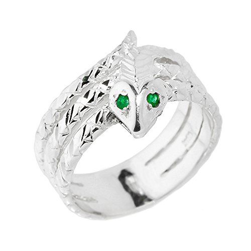 (Polished 925 Sterling Silver Green-Eyed Coiled Snake Ring (Size 8))