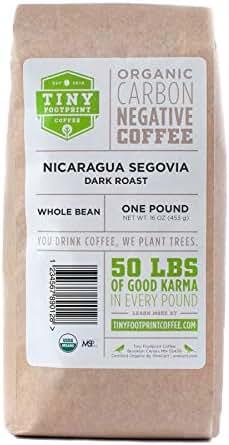 Tiny Footprint Coffee - The World's First Carbon Negative Coffee | Fair Trade Organic Nicaragua Segovia Dark Roast, Whole Bean Coffee | 16 Ounce