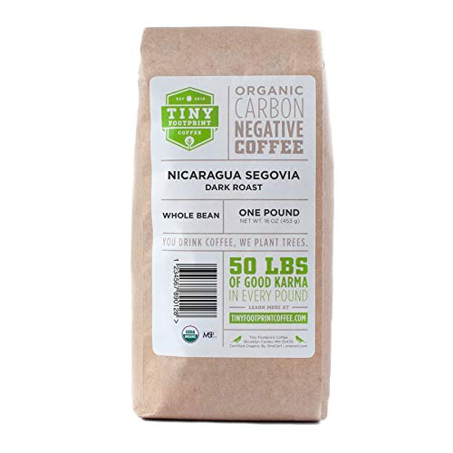 Tiny Footprint Coffee - The World's First Carbon Negative Coffee | Fair Trade Organic Nicaragua Segovia Dark Roast, Whole Bean Coffee | 16 Ounce