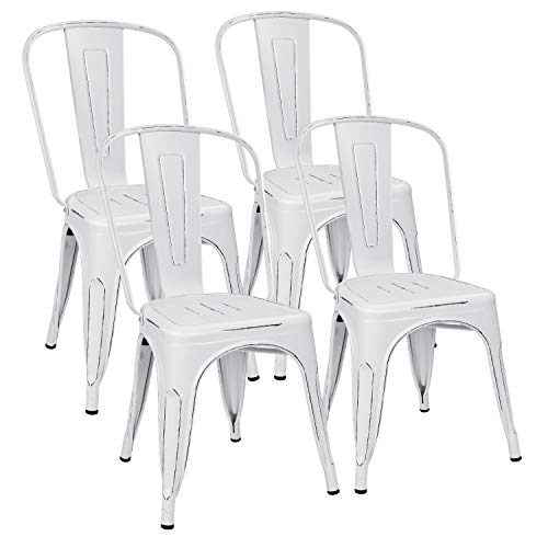 Flamaker Metal Dining Chairs Stackable Kitchen Dining Chairs Metal Chairs Bistro Cafe Side Chairs Height Restaurant Chairs Tolix Side Bar Chairs, Set of 4 Distressed White