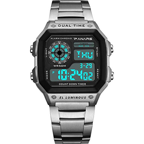 ⌚ Digital Sports Wrist Watch Square Fashion Electronic Watch Multi Function Alarm Clock Calendar Water Resistant Watches for Men,Women & Student ⌚ (Silver)