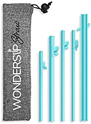 WonderSip One-Click Open Reusable Drinking Straw - One Piece Rigid Designed in California, Food Grade PP, Easy