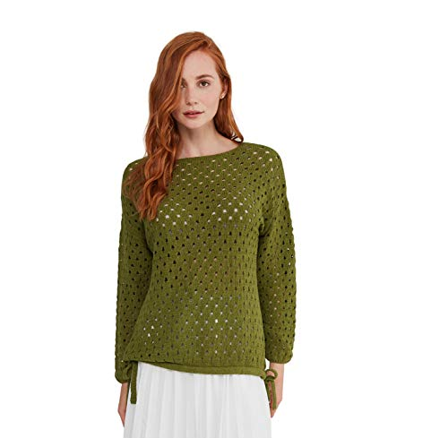 State Cashmere Women's Open Stitch Casual Mesh Sweater Summer Beach Cover Up Olive