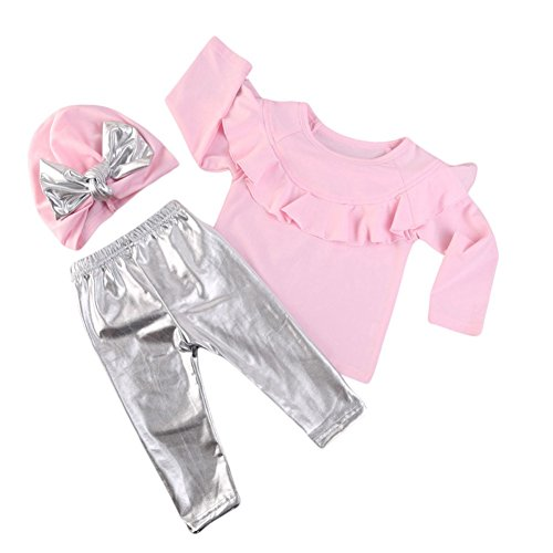 Zhengpin 3pcs Girl Lace T-Shirt Silver Leggings Butterfly Knot Hat Clothing (Butterfly T-shirt Hat)