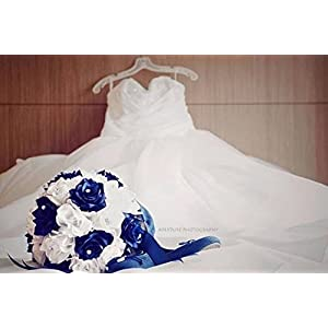 Bridal Bouquet - Royal Blue White with Ribbon and Rhinestone - Silk Flower 80