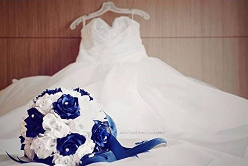 Bridal Bouquet Royal Blue White With Ribbon And Rhinestone