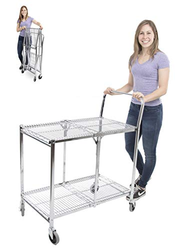 Duty Standard Utility Cart - Original Tubstr - Collapsible Wire Cart | 2 Shelf Wire Utility Cart Provides Convenient Transport, Holds 200 Pounds, and Folds Up for Storage! Commercial Grade