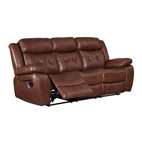 Coja by Sofa4life Covina Leather Power Recliner Sofa, Brown ()