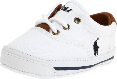 Baby Lauren Ralph Layette - Ralph Lauren Layette Vaughn Crib Shoe (Infant/Toddler),White Canvas,1 M US Infant