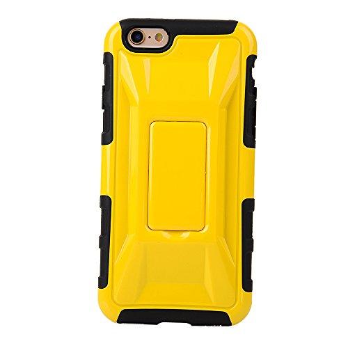 """MOONCASE iPhone 6 Case Dual Layer Hart Weich Hybrid Schutzhülle Etui Hülle Schale Case Cover für iPhone 6 (4.7"""") ausklappbarer Ständer Funktion Gelb"""