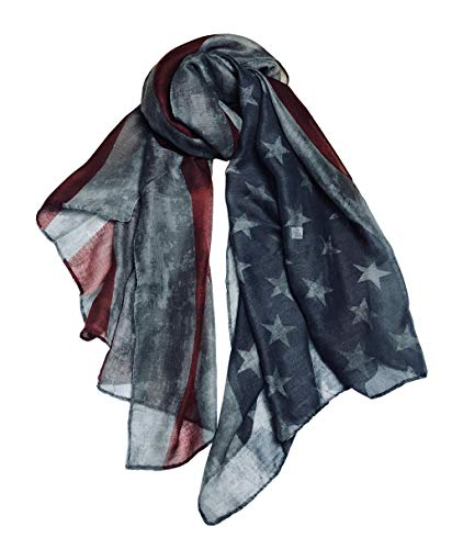 LRRH Vintage American Flag Scarf,Unisex Fashion Premium Patriotic,Red,Gray and Blue American Flag Infinity Shawl Scarf (Gray)