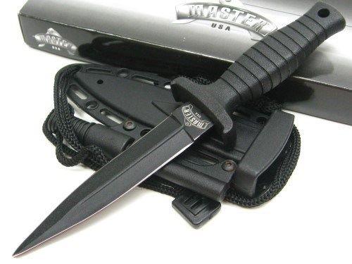 - New MASTER USA Black DAGGER Fixed Blade ProTactical'US - Limited Edition - Elite Knife with Sharp Blade w/ FIRESTARTER + Sheath! CCSQ1141BK