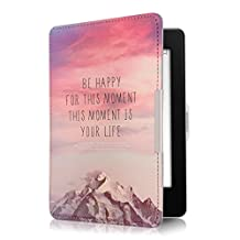 kwmobile Funda para Amazon Kindle Paperwhite - Carcasa para e-Reader de [Cuero sintético] - Case con diseño Be Happy