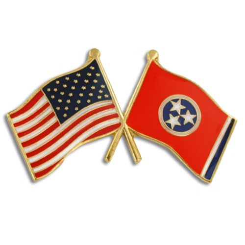 PinMart Tennessee and USA Crossed Friendship Flag Enamel Lapel - Lapel Pin Tennessee