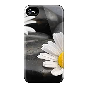 Iphone Case - Tpu Case Protective For Iphone 4/4s- Nature Flowers Daisies Among The Rocks