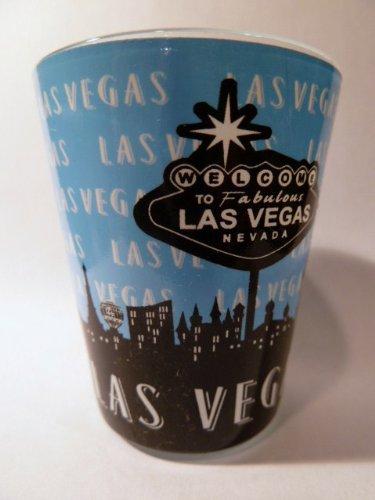 Las Vegas Nevada Baby Blue Skyline Shot Glass